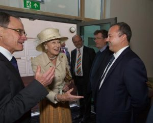 HRH Princess Alexandra being introduced to PML Director Andy Prager by Christopher Hinton, CEO at Holy Cross Hospital.