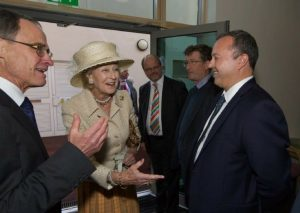 HRH Princess Alexandra being introduced to PML Director Andy Prager by Christopher Hinton, CEO at Holy Cross Hospital